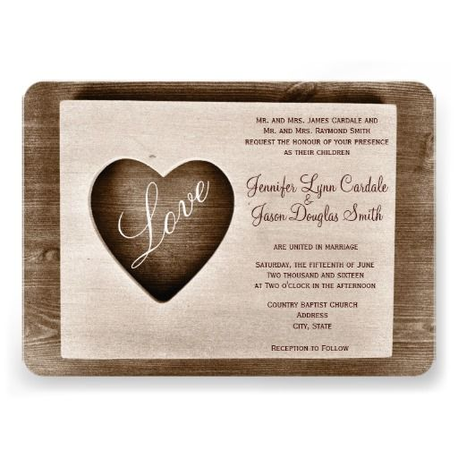 Rustic Country Barn Wood Love Heart Wedding Invitations