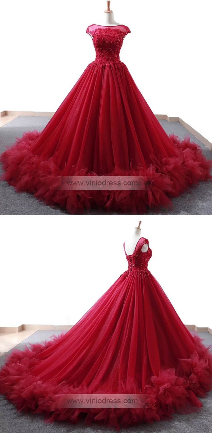 Fabulous red ball gown with train. Cap sleeve Quince dresses with corset back closure