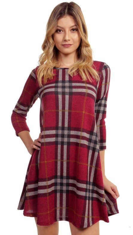 Plaid 3/4 Sleeve Dress