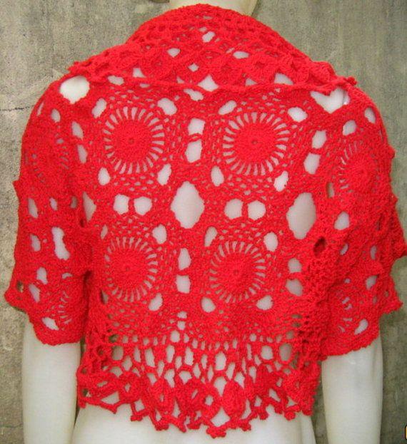 Bolero tejido a mano en crochet con algodon por ruecavellon en Etsy ...