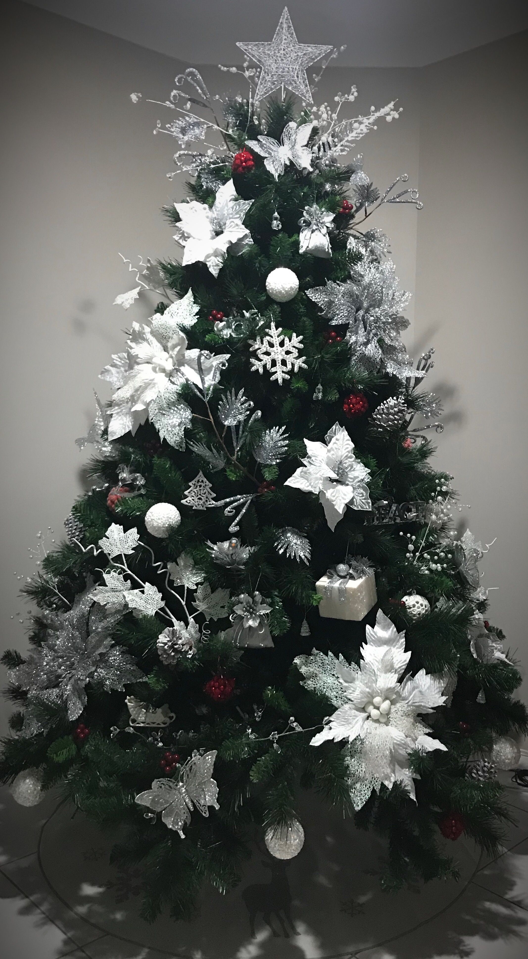 White Silver Poinsettia Christmas Tree Christmas Tree Xmas Decorations Christmas