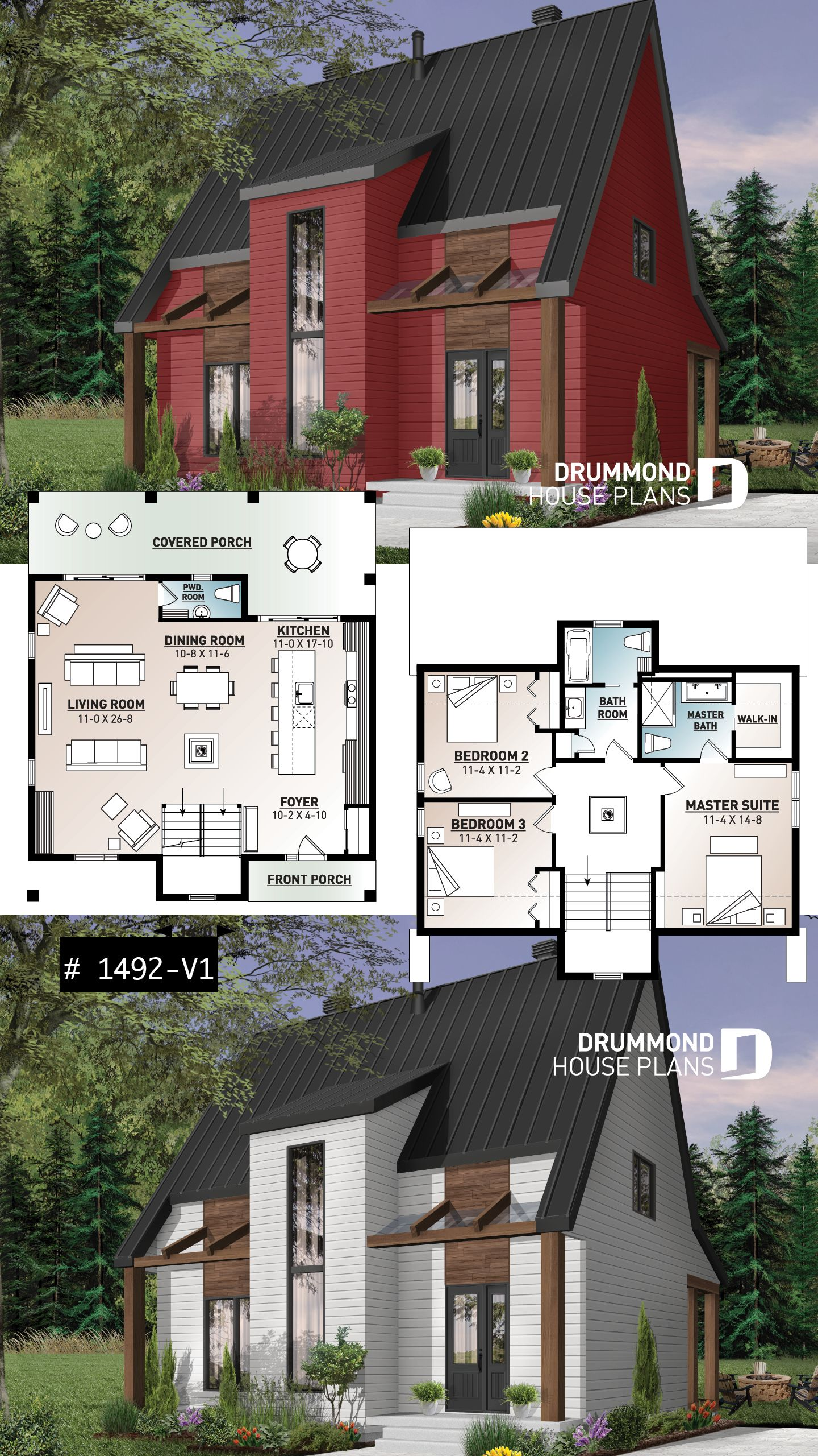 SCANDINAVIAN HOME PLAN WITH 3 BEDROOM, MASTER SUITE AND OPEN FLOOR