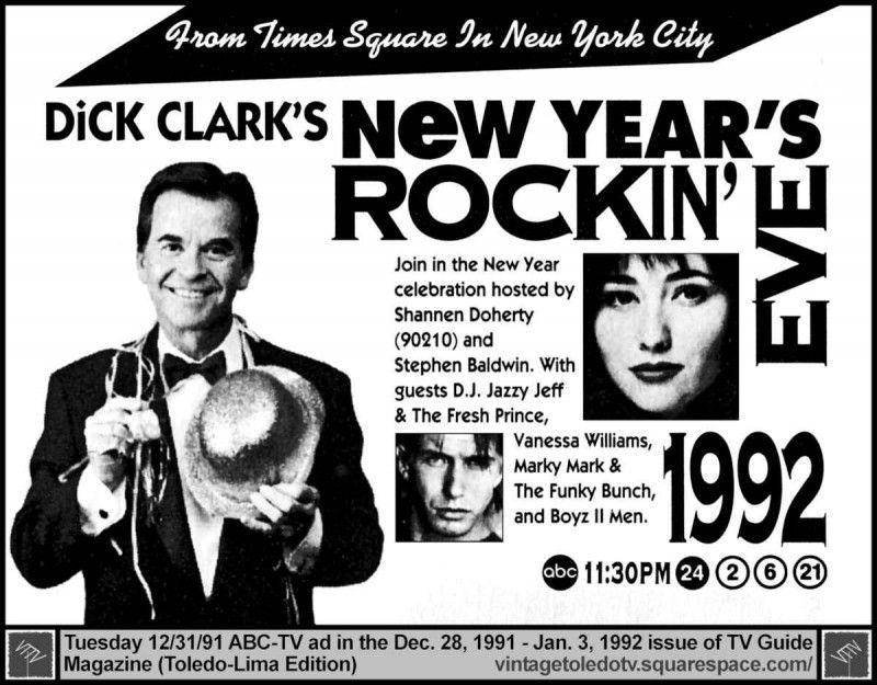 Dick Clark 1992 Rockin New Year's Eve Advertisement, Tv