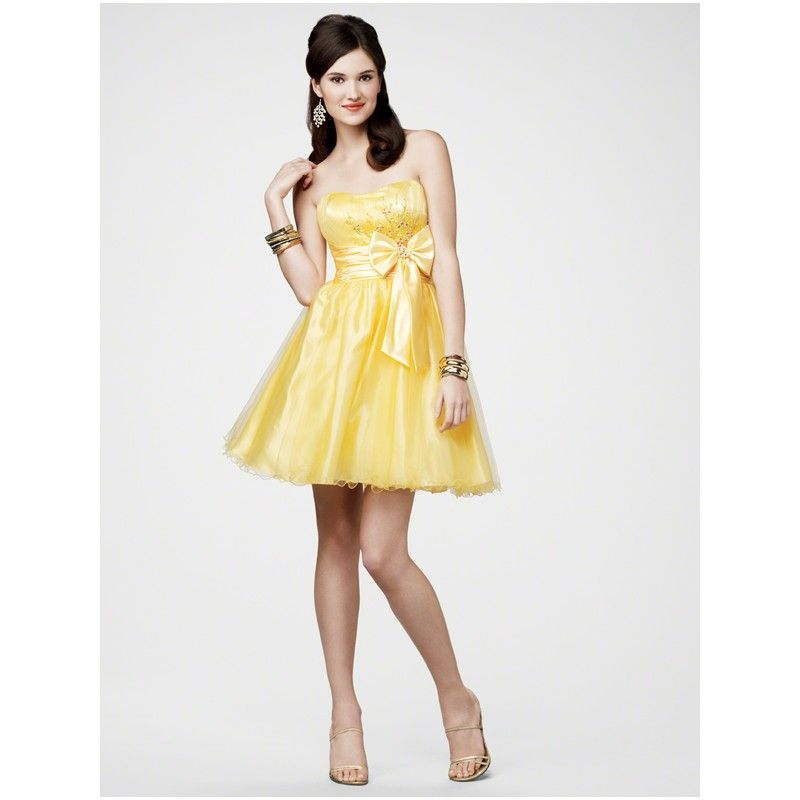 Short Teen Party Dresses Yellow Short