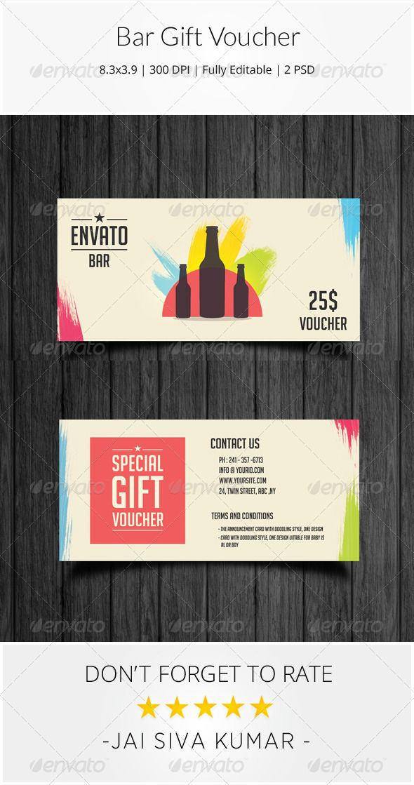 Bar Gift Voucher Template, Psd templates and Gift voucher design - food voucher template