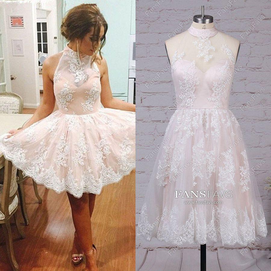 Pink prom dressesshort prom dresses alinehigh neck homecoming