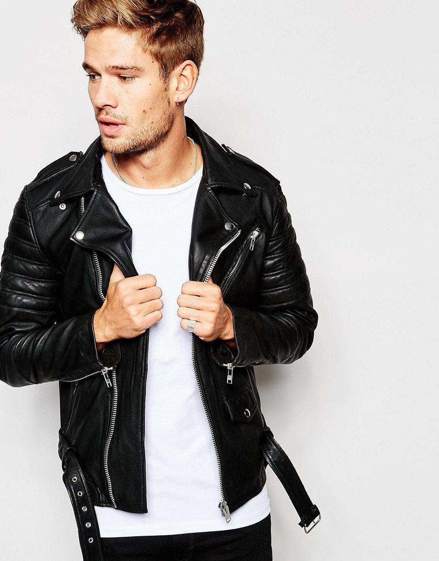 f5966540a Selected Homme Leather Biker Jacket | So good looking and sexy guys ...