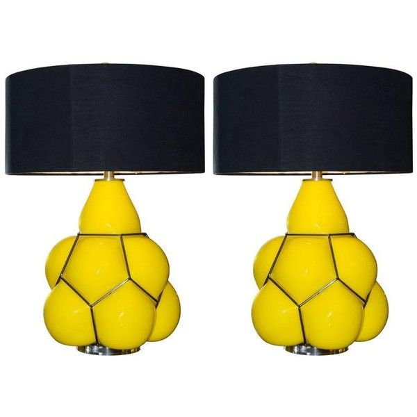 For sale on table lamp yellow set of two in glass with black lampshade unit price set of two price pacific compagnie collection