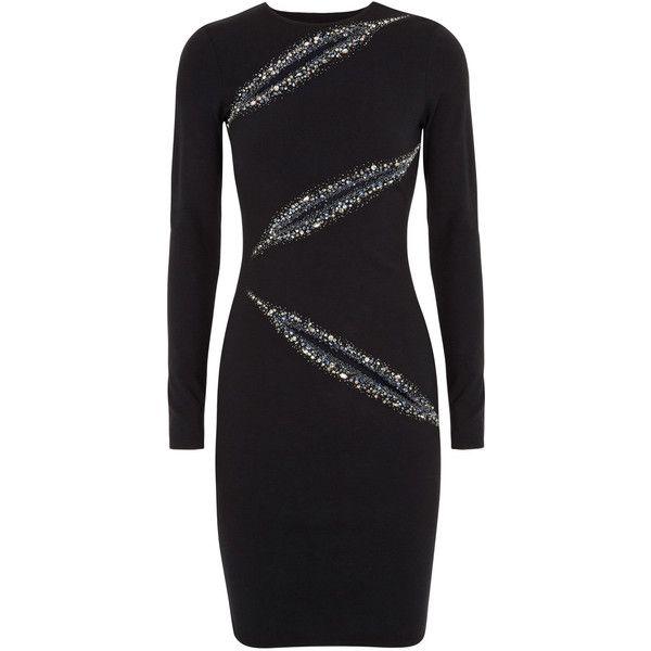 Emilio Pucci Embellished Slash Wool Blend Jersey Dress ($2,800) ❤ liked on Polyvore