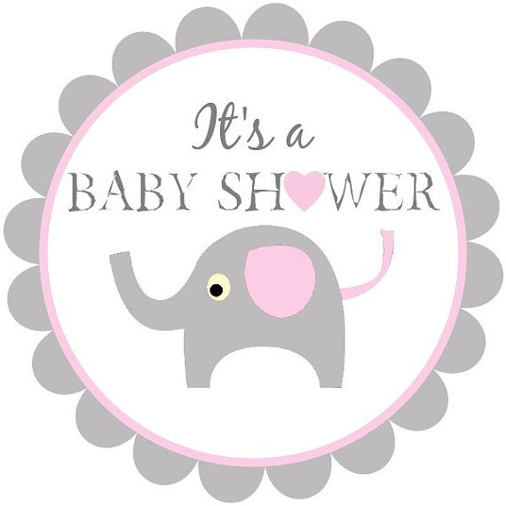 Printable baby shower tags, baby elephant labels, pink and gray baby ...