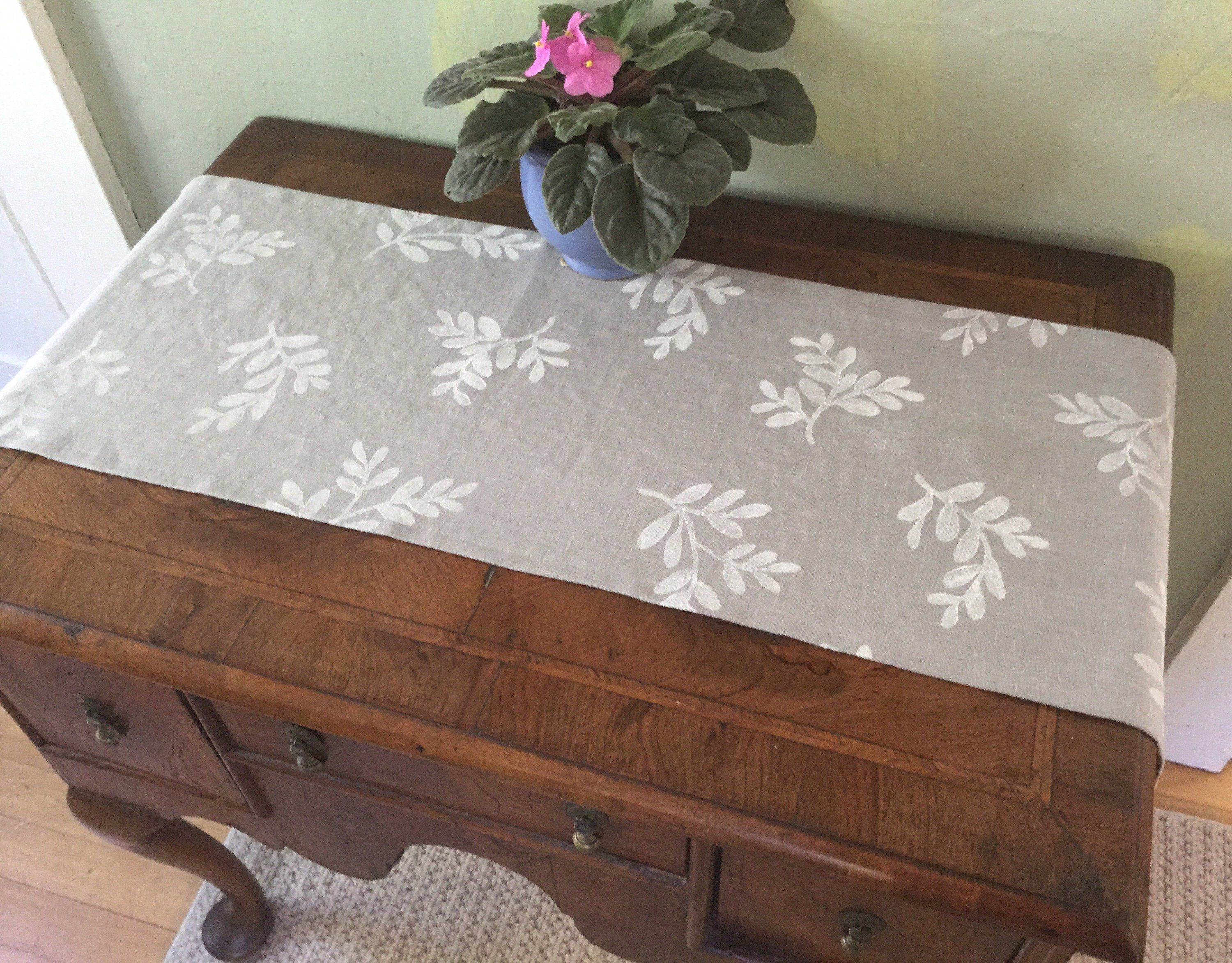 Gray Linen Table Runner With Hand Printed Design Handmade For Dresser Or Unique Block Cloth