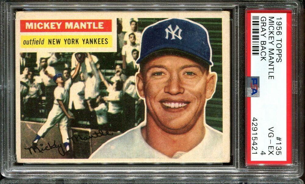1956 topps 135 mickey mantle psa 4 hof new york yankees