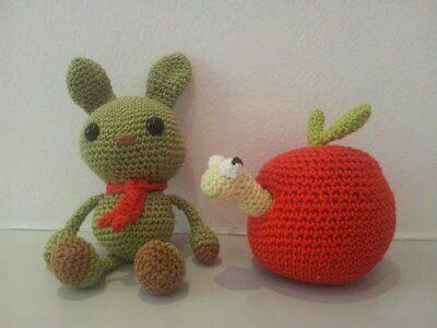 Häkeln Amigurumi Hase Wurm Im Apfel Tiere Tier Handarbeiten