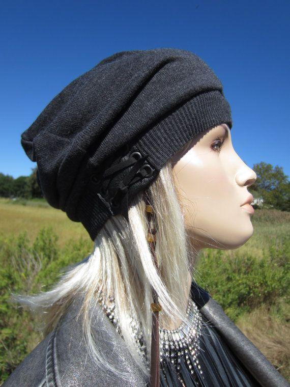 6755b658 Slouchy Beret Oversized Beanie Leather Trim Hat with Leather Corset ...