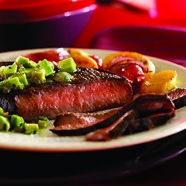 Photo of Cumin-Rubbed Steaks with Avocado Salsa Verde-Cumin-Rubbed St…