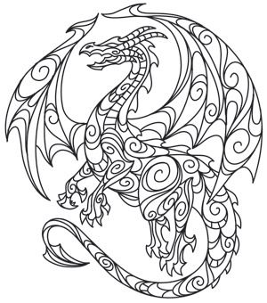 Loops and swirls make up an ethereal dragon design