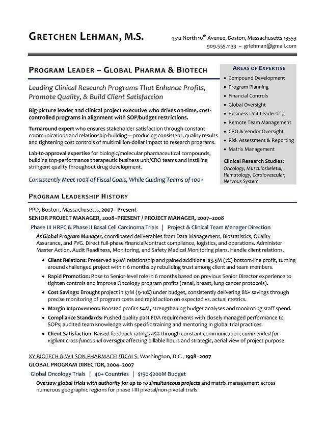 Program Manager Sample Resume - Biotech Sample Resume - Resume - career development manager sample resume