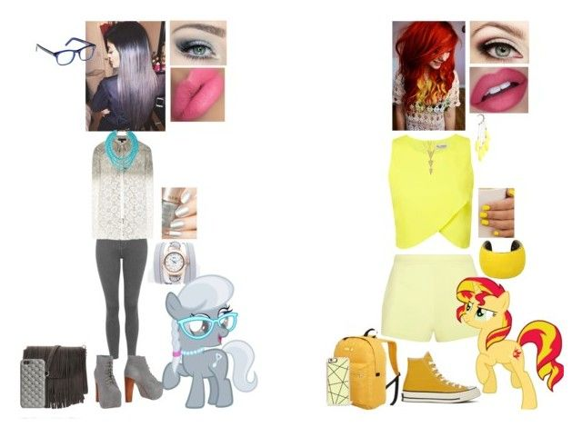 """""""My Little Pony Inspired Outfits #8: Silver Spoon and Sunset Shimmer"""" by nikkie-fen ❤ liked on Polyvore"""