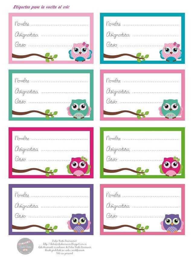 Etiquetas para la vuelta al cole proyectos que intentar etiquetas ha vuelto y cuadernos - Etiquetas para el cole ...