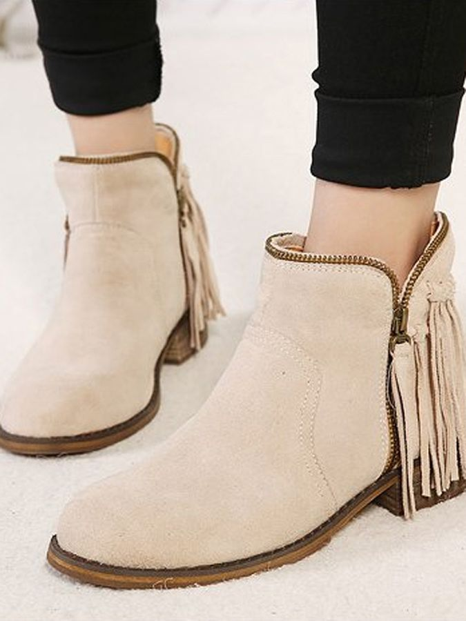 Beige Tassel Zipper Suede Ankle Boots   Shops, Zippers and Ankle boots
