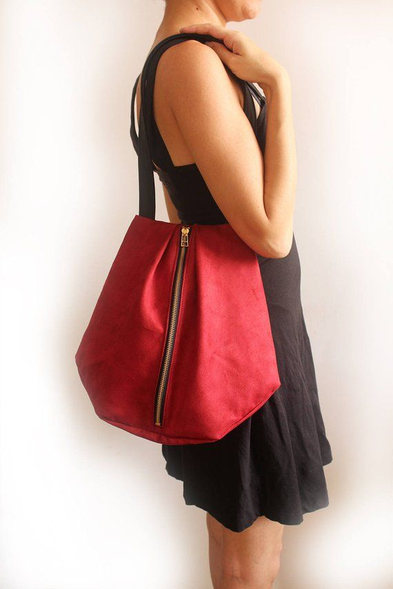 ROME tote, Red shoulder bag - Everyday tote Bag   Vegan tote bag - red tote  bag   Fabric tote bag - 602d655228