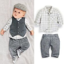 Newborn baby boy Smart Grey Waistcoat   Pants   Shirts clothes ...