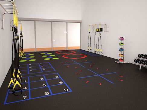 3d rendering of a racquetball court conversion into a