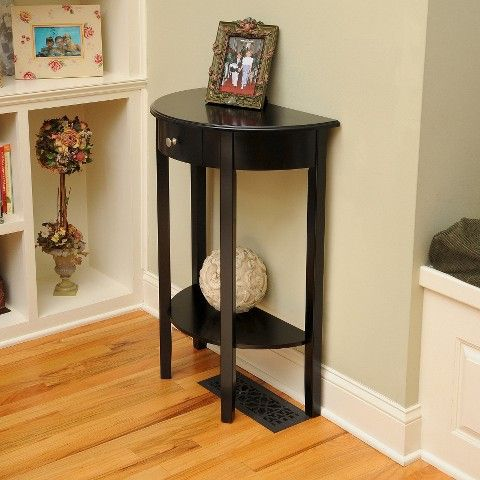 Bay Shore Collection Half Moon Console Table With Drawer Black