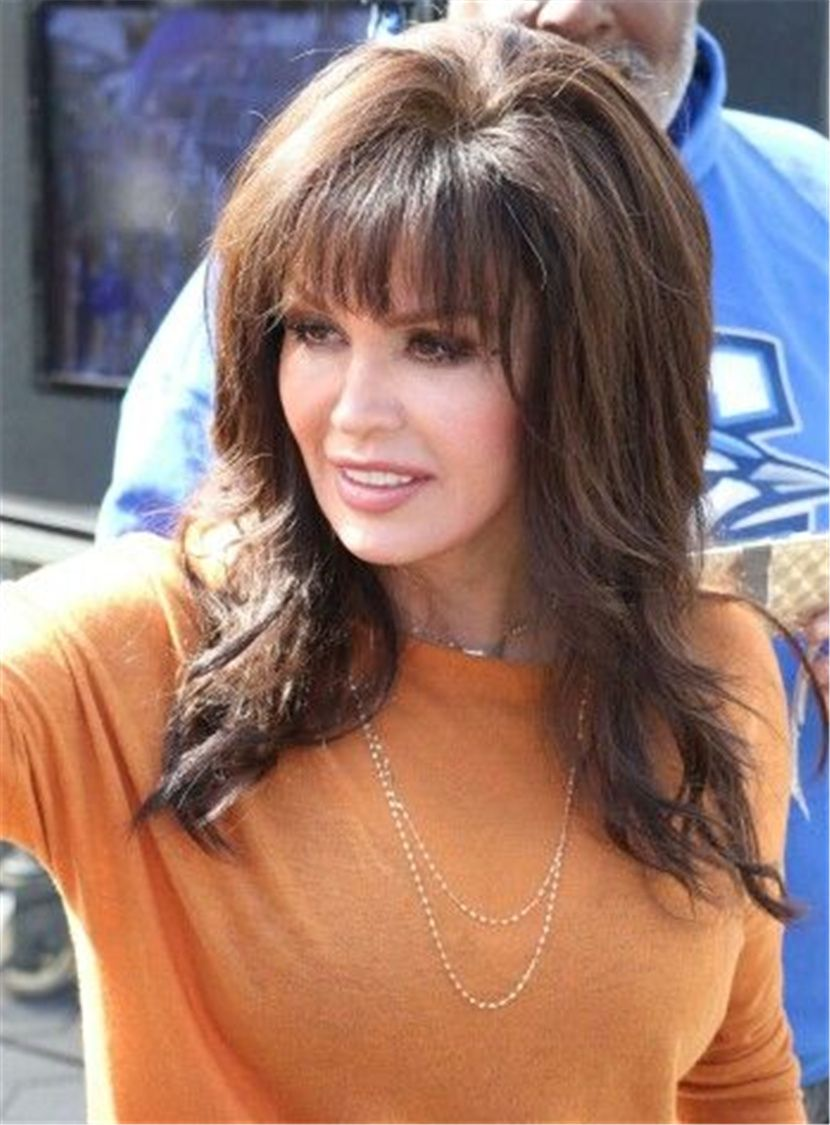 marie osmond full bang medium lenght loose wave human hair