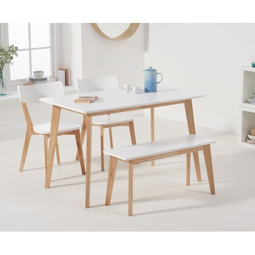 Fjorde Co Sarahi Dining Set With 2 Chairs And One Bench Dining