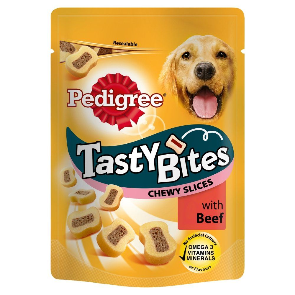 Pedigree Tasty Bites Dog Treats Chewy Slices With Beef