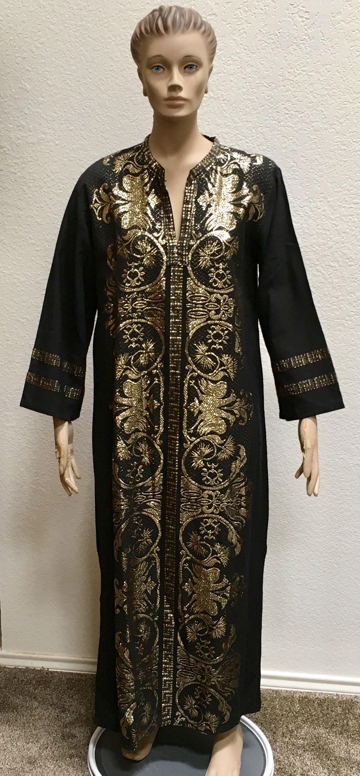 S greek embroidered caftan metallic gold black m de sigoura cotton