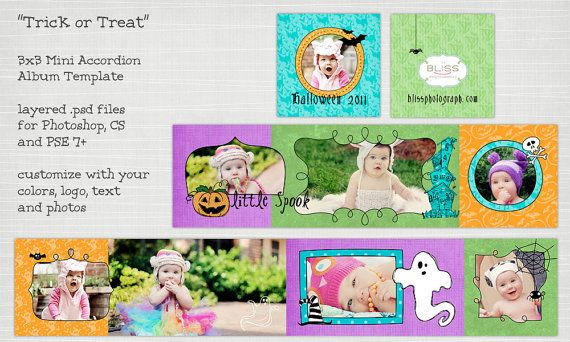 Trick or Treat  3x3 Mini Accordion Book Template by HoneysuckleArt, $6.50