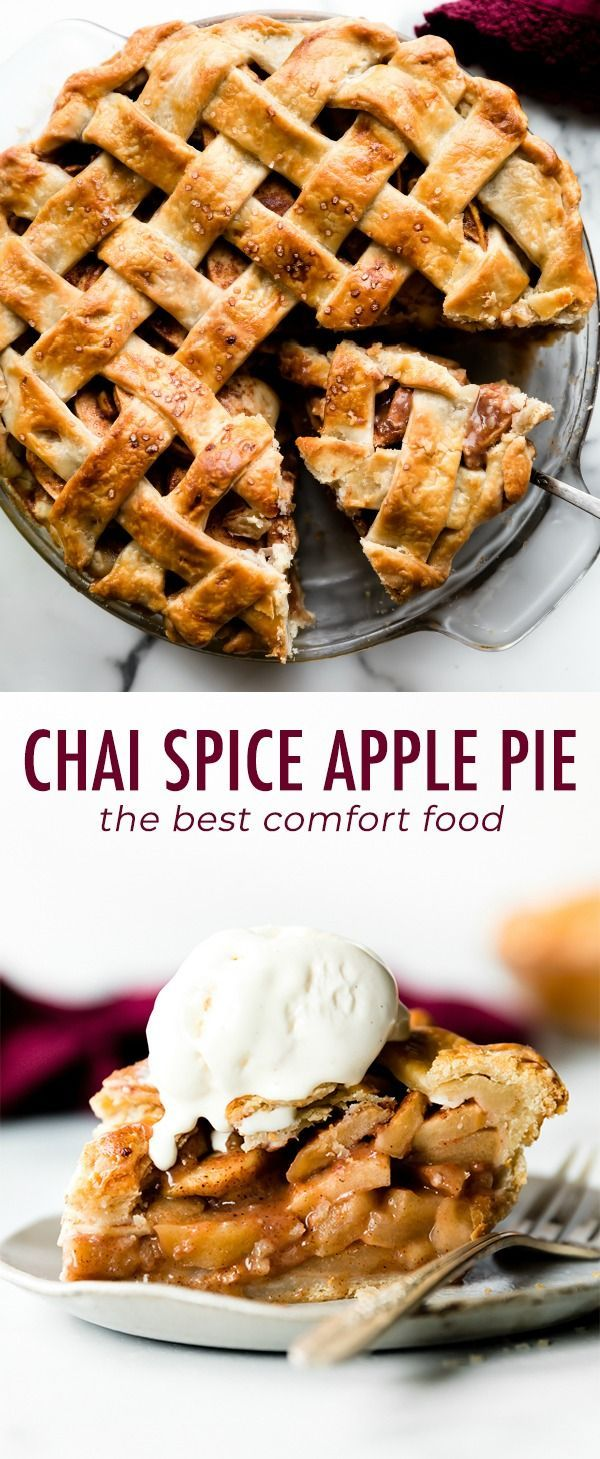 Warm and sweet homemade deep dish apple pie flavored with delicious chai spice! ...