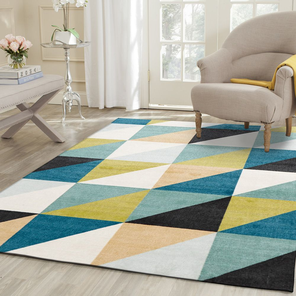 Multi Triangles Blue Rug 280x190cm By Living Large On