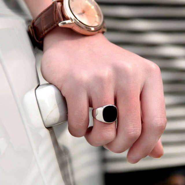 2014 moda de acero Titanium para hombre negro Onyx anillo de piedra de plata grueso plateado Base anillos de aceite