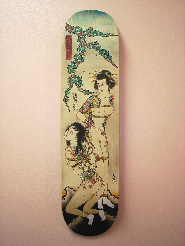 Japanese custom skate deck | Skateboarding | Skateboard deck art
