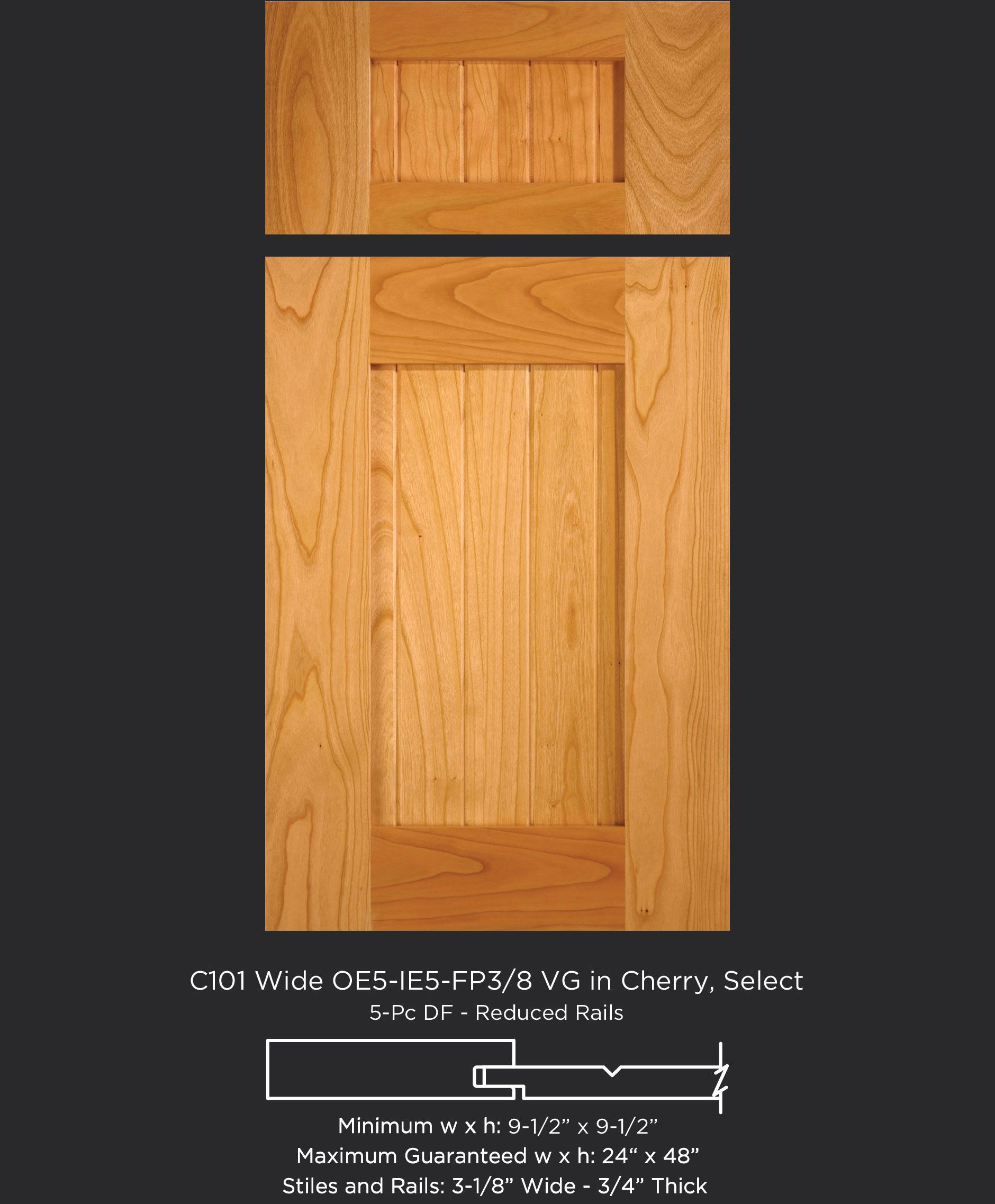 Classic shaker style cherry cabinet door with wide stiles and ...