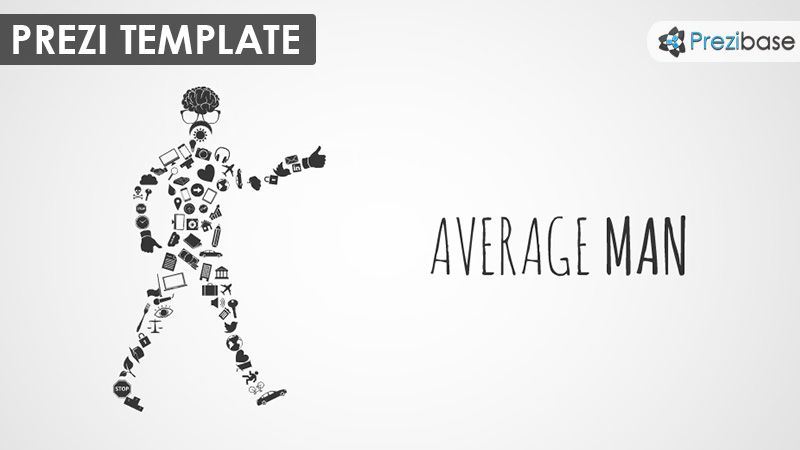 A funny Prezi Template with an average modern man concept A walking
