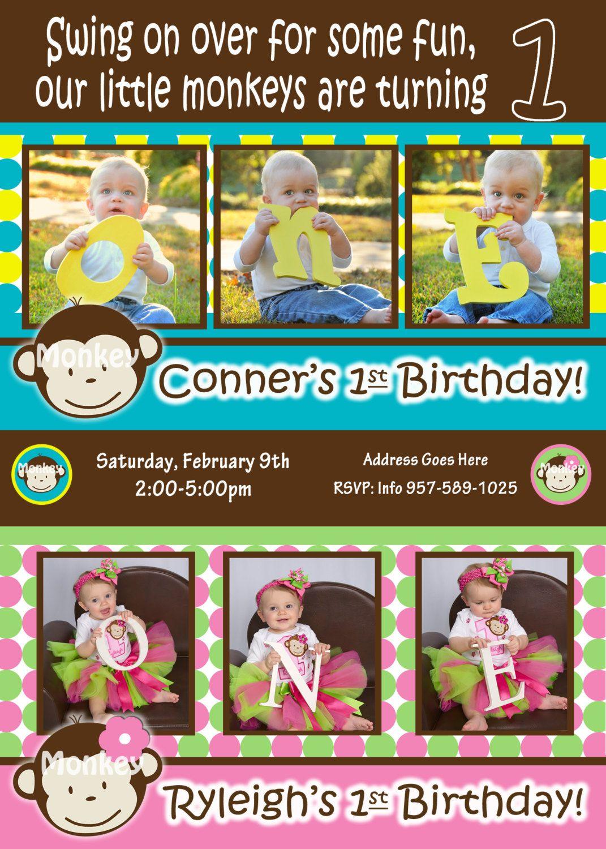Twins 1st Birthday Mod Monkey Invite Mod Monkey Invitation Boy Girl