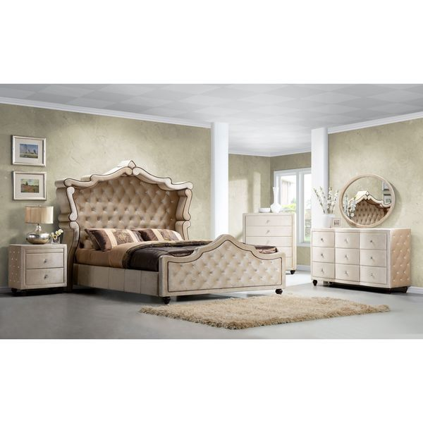 Contemporary Diamond Golden Beige Velvet Canopy Bed by Meridian
