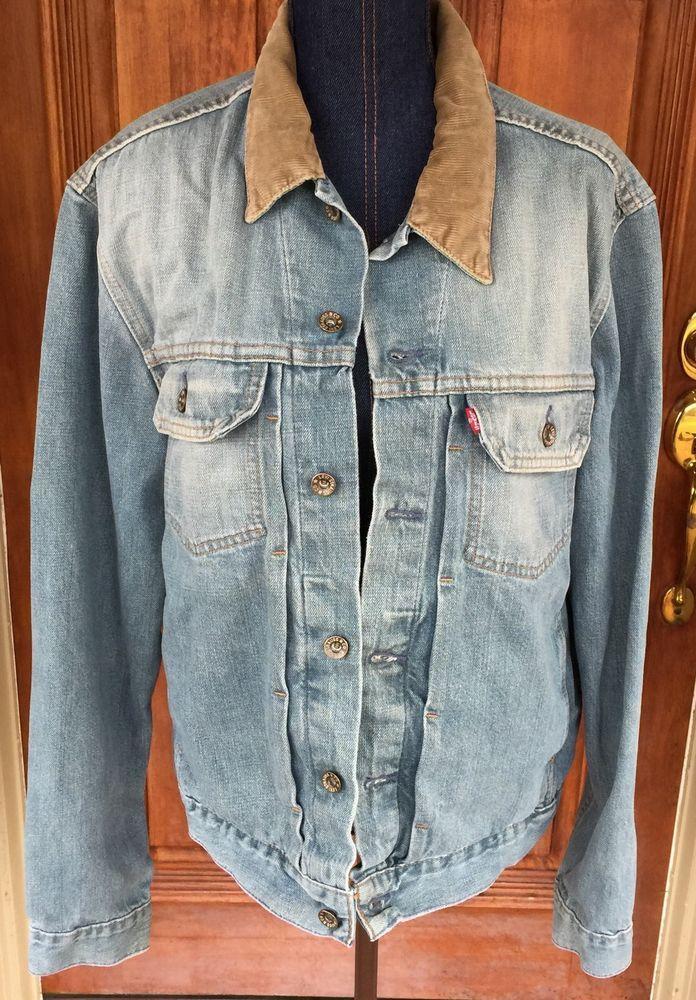 f783d111f63 Vintage Levi s Men s Denim Jacket Large Corduroy Collar 70527 Faded ...