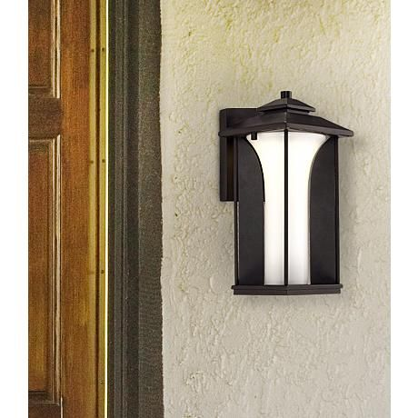 Possini Euro Anlo 12 3 4 High Black Led Outdoor Wall Light 3h681 Lamps Plus Outdoor Wall Lighting Wall Lights Led Outdoor Wall Lights