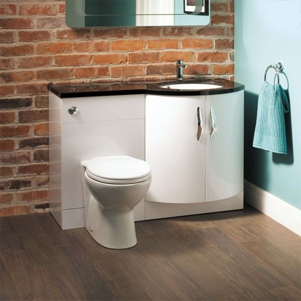 Bow front right hand vanity combination a contemporary - Bathroom combination vanity units ...