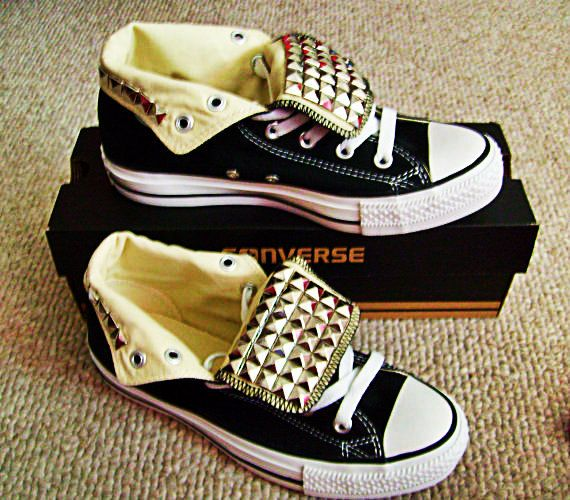 bb93f6bd016f Free Shipping Custom Adult Studded Converse Shoes by ChaoticMayhem
