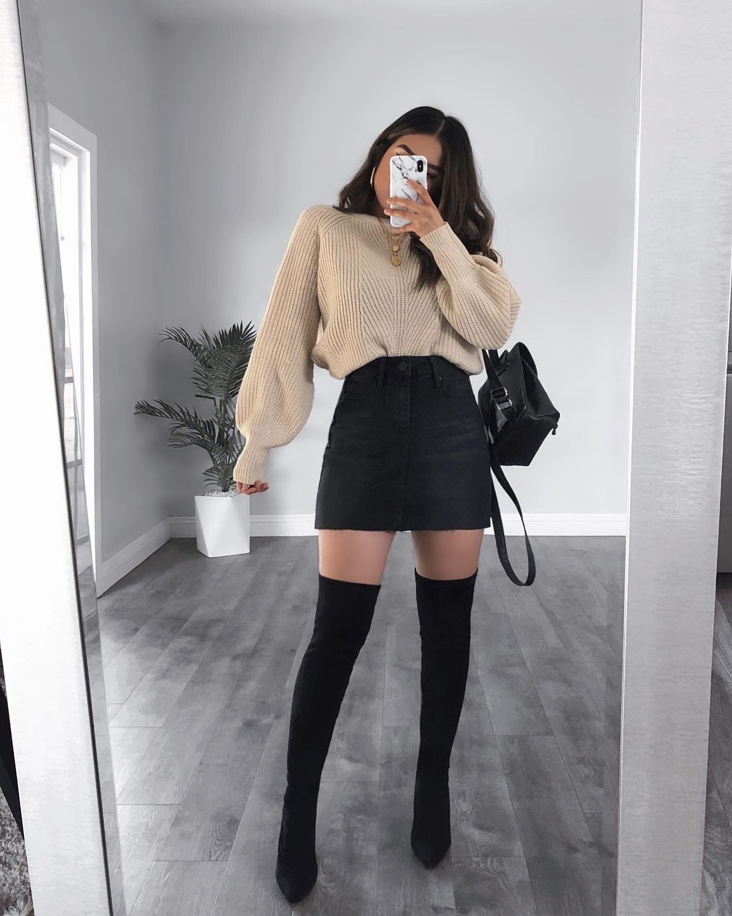 Knit Sweater and Over The Knee Boots Outfit