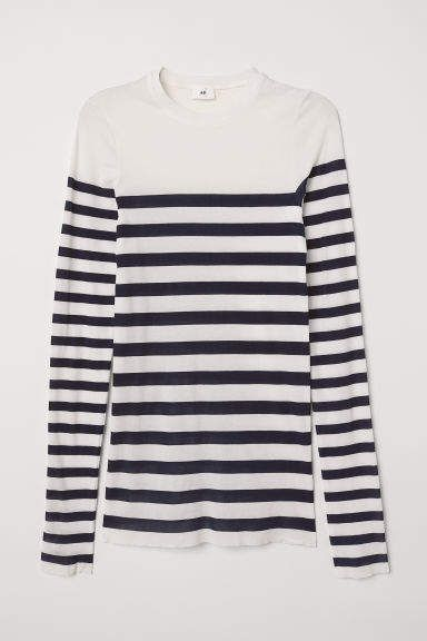 21d13591208 H&M Striped Top - White in 2019 | Shop the look products | Tops ...