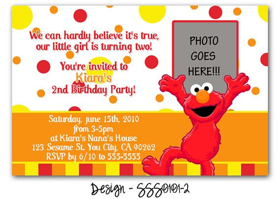 Elmo Invitation Wording Idea Rikki Turner