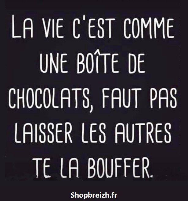 La vie cest comme une boite de chocolats, faut pas laisser les autres te la bou