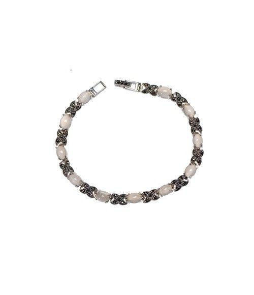 925 Sterling Silver Marcasite Vintage Moonstone Bracelet